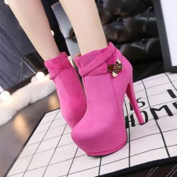 2330-145 European market and the US market fashion ultra thin with pointed shoes Martin boots with thick metal belt buckle slim ladies boots
