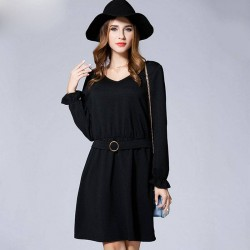 Autumn new models in Europe and the US market large size women overweight ladies slim waist small v-collar long-sleeved dress bottoming