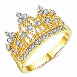 Discount jewelry European and American markets selling plated 18K gold diamond ring style crown promotional support fast delivery