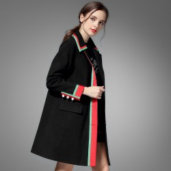 Autumn and winter coat lapel jacket retro black knight wind handsome long spell color style slim coat Slim