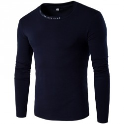 Autumn new style low price selling fashion casual men's round neck long-sleeved t-shirt letters