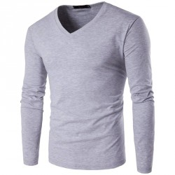 Autumn low price new style men's fashion casual long-sleeved V-shaped collar solid color t-shirt