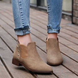Autumn and winter in Europe and the United States market, Ms. pointed boots thick with deep mouth shoes stylish and comfortable all match slip resistant low-heeled boots Ms.