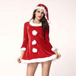 Christmas joy new style sexy three-piece Santa sleigh beauty style hooded stage costumes 7232