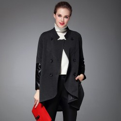Autumn and winter new models in Europe and the US market fashion all match loose wiping angle double-breasted long style windbreaker jacket Ms.