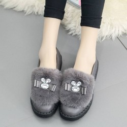 Leather heel thick cotton plus velvet flat shoes dew instep slip pregnant women shoes soft bottom flat shoes plush shoes Ms.