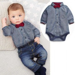New Low Price discounts for children Kids jumpsuit denim trousers baby boys three-piece suit