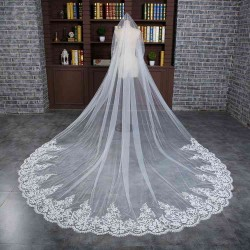 Advanced lace big lace long tail long wedding dress veil marriage wedding white veil promotional discounts