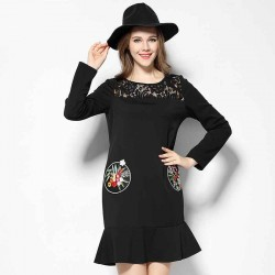 2017 spring new models in Europe and the US market large size women Slim figure partial fat lady slim irregular hem stitching lace dress hollow