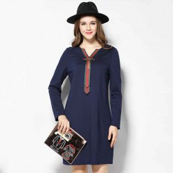 2017 spring new models in Europe and the US market large size women Slim slim figure partial fat lady butterfly tie v-collar long-sleeved dress