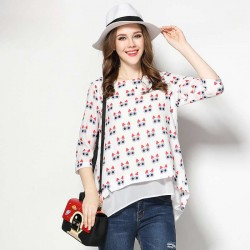 2017 European market and the US market large size women's spring new style owl pattern muslin overweight ladies loose slim casual jacket