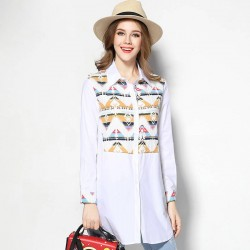 2017 European market and the US market large size women's spring new models overweight Ms. geometric pattern stitching cotton long style cotton blouses