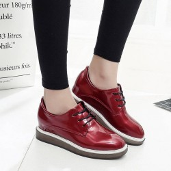 Department early spring 2017 new style leather fashion British style flat shoes flat square head with high-heeled ladies shoes inside