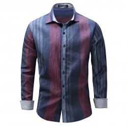 Long Sleeve Blue Classic Vertical Striped Shirt for Men