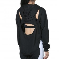 Cross Back Long Sleeve High Waist Stretch Sport Hoodie