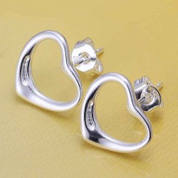 Popular promotional discount jewelry silver jewelry selling popular heart-shaped earrings E099