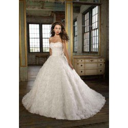 Classic aesthetic high-end wedding dress sexy peach low-cut wedding dress long tail Promotions