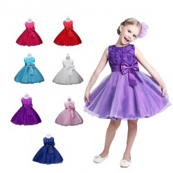 Baby Girls Flower Formal Wedding Pegeant Party Dress Pricess Bowknot
