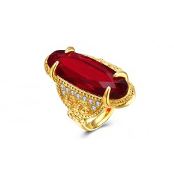 7MM Titanium Red Ruby Gold Plated Ring