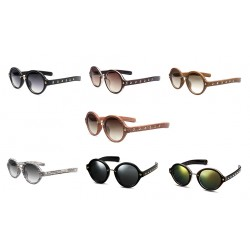 Sunglasses Unisex Retro Rivet Sunglasses Round Reflective Sunglasses