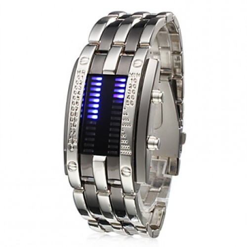 Men & #039;S Watch Blue Led Digit Display Steel Band