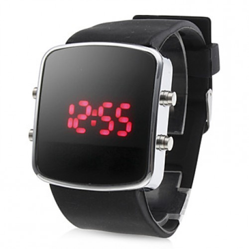 Men & #039;S Watch Red Led Digital Square Dial Silicone Strap