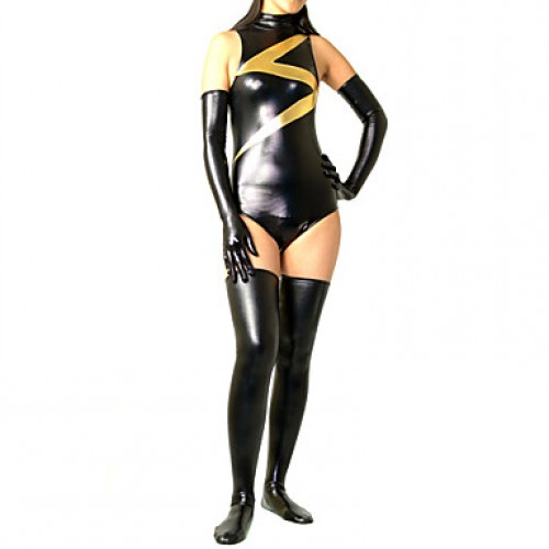 Black Mixed Color Shiny Metallic Women Spandex Leotard
