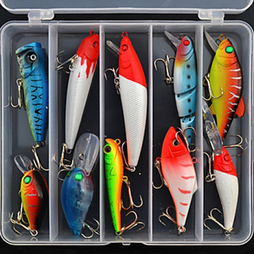Hard Bait/Lure Kits/Fishing Lures Crank/Hard Bait/Spoons/Lure Packs/Minnow/Pencil/Vibration/Vib 10 Pcs G Ounce Mm/4 & Quot;