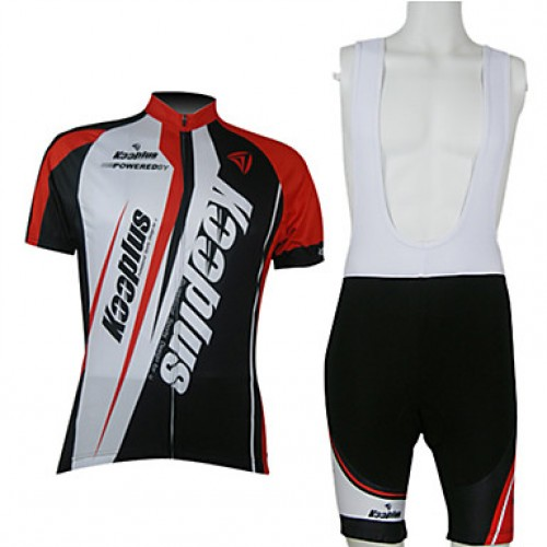 Kooplus-Men & #039;S Cycling Jersey Short Sleeves + Bib Shorts Chamois Cycling Suits (Red And White)