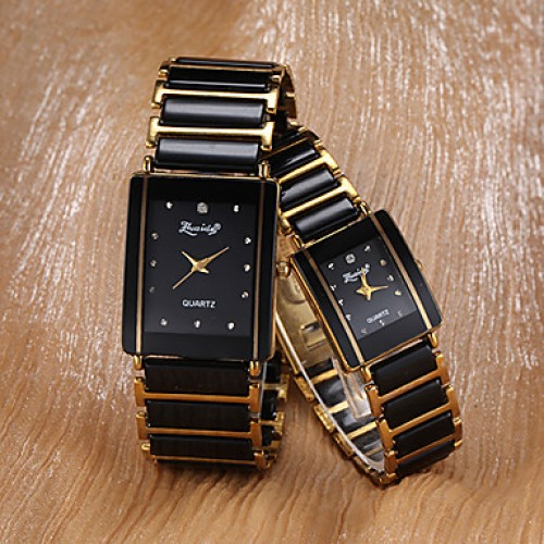 Women & #039;S Watch Rectangle Dial Alloy Band One Pair