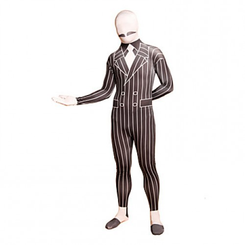 Black Striped Business Suit Lycra Full Body Suit
