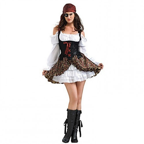One-Eyed Pirate Black And White Polyester Women & #039;S Halloween Costumefor Carnival