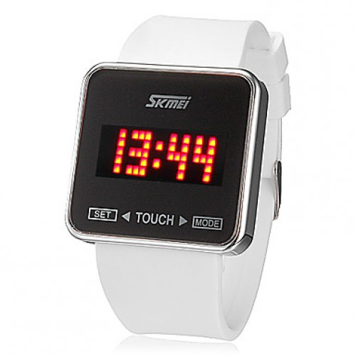 Men & #039;S Touch Screen Red Led Digital Dial Silicone Band Quartz Analog Wrist Watch (Assorted Colors)