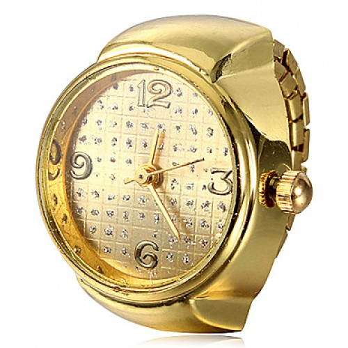Women & #039;S Round Case Gold Alloy Quartz Ring Watch