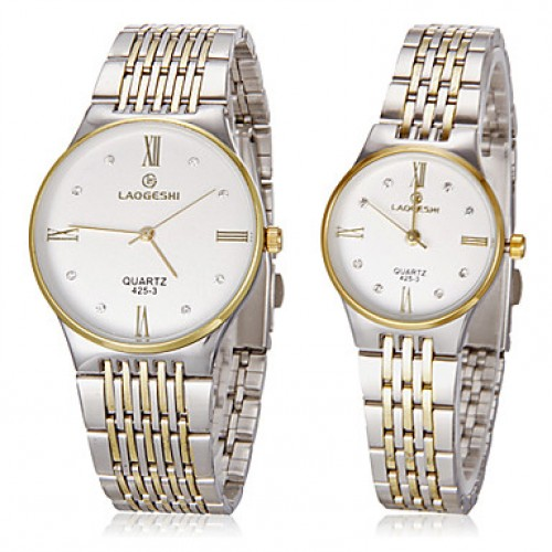 Couple & #039;S Simple Round Dial Steel Band Quartz Analog Couple & #039;S Watch (Assorted Colors)
