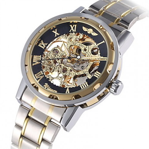 Men & #039;S Watch Mechanical Golden Skeleton Stainless Steel