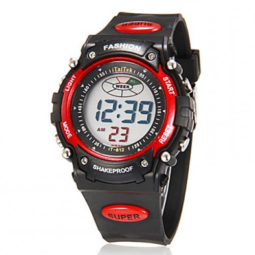 Men & #039;S Multi-Functional Digital Round Lcd Rubber Band Running Sport Wrist Watch (Assorted Colors)