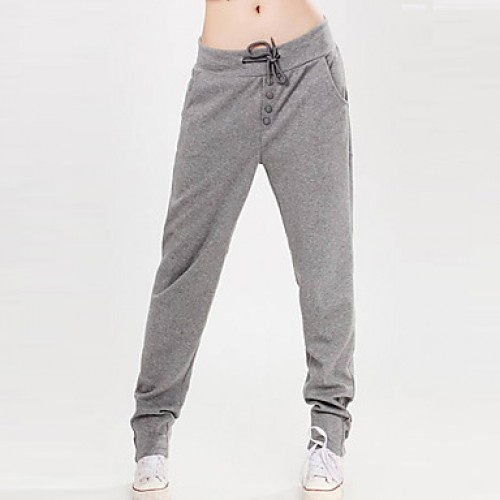 Women & #039;S Solid Black/Grey/Red Casual Pants Lace-Up Botton