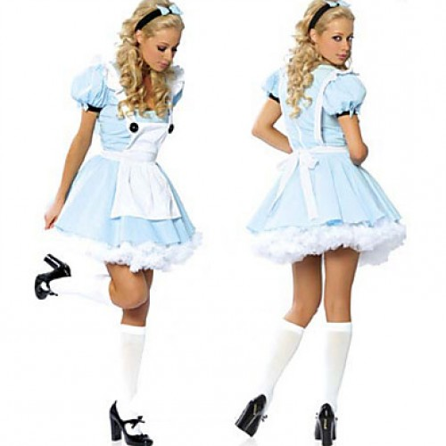 Classic Alice In Wonderland Blue Polyester Women & #039;S Halloween Costume