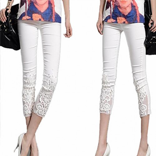 Women & #039;S White/Black/Blue Elegant Lace Flower Embroidery Slim Pants