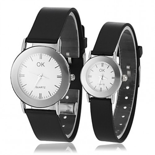 Couple & #039;S Causal Style Round Dial Black Rubber Band Quartz Wrist Watch (Assorted Colors)