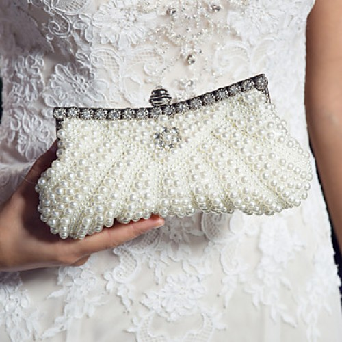 Satin With Pearl And Diamond Wedding /Special Occasion Evening Handbags/Clutchs