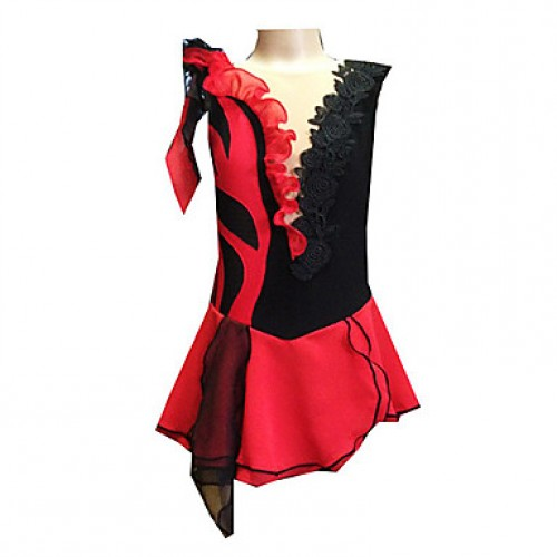 Girl & #039;S Black And Red Spandex Chiffon Figure Skating Dress(Assorted Size)