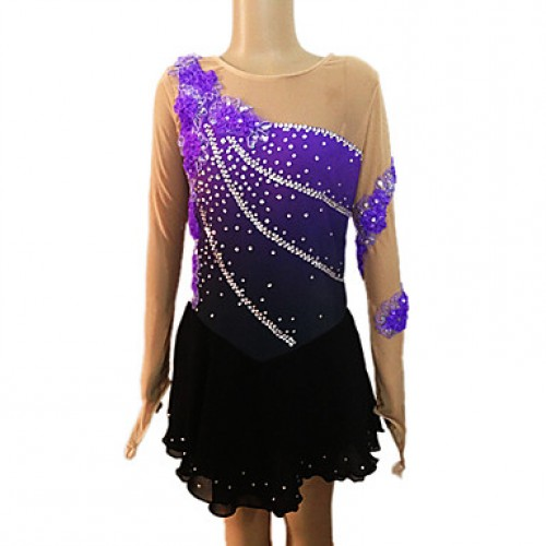 Girl & #039;S Purple And Black Spandex Long Sleeve Figure Skating Dress(Assorted Size)
