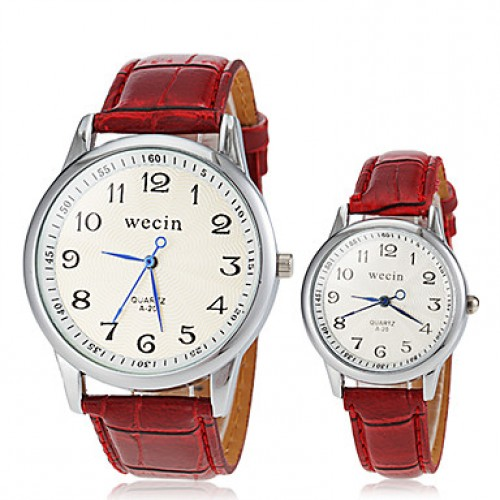 Couple & #039;S Casual Style PU Band Quartz Wrist Watch (Assorted Colors)