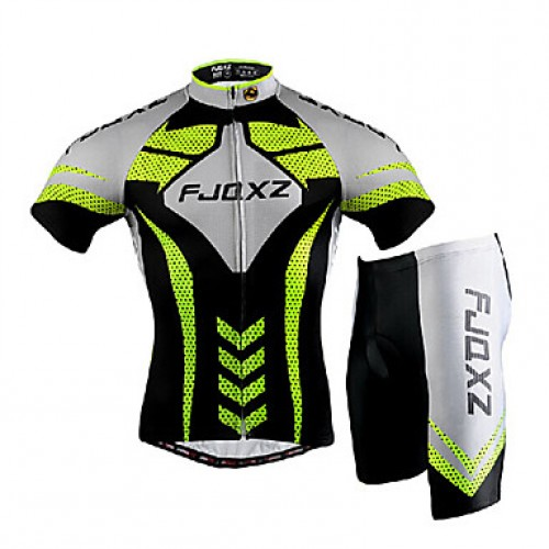 Fjqxz Men & #039;S Short Sleeve Cycling Jersey + Shorts 3D Slim Cut Summer Uv Resistant Cycling Suit- Black + Green + White