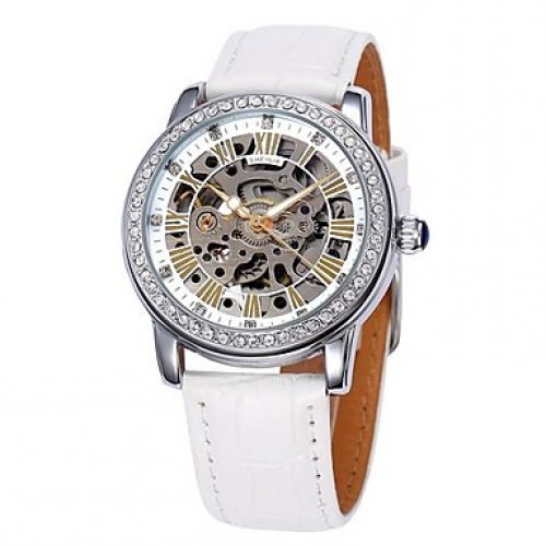 Women & #039;S Hollow Dial Diamond Case Leather Band Auto-Mechanical Wrist Watch (Assorted Colors)
