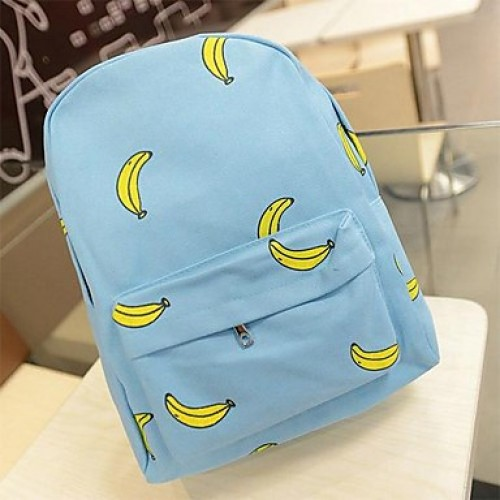 Women Banana Pattern Print Canvas Backpack