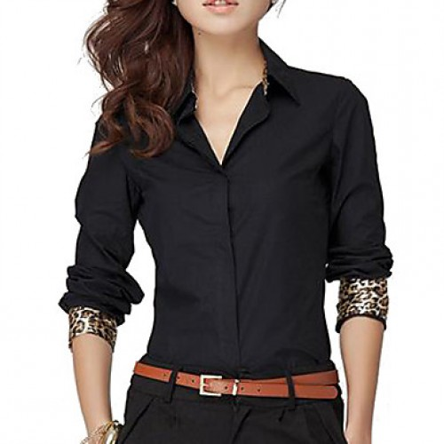 Women & #039;S Solid White/Black Shirt, Work V Neck Long Sleeve Leopard Cuff
