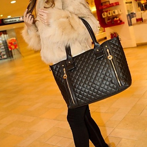 Women & #039;S PU Leather Quilted Check Pattern Twin Zipper Shoulder Bag Totes